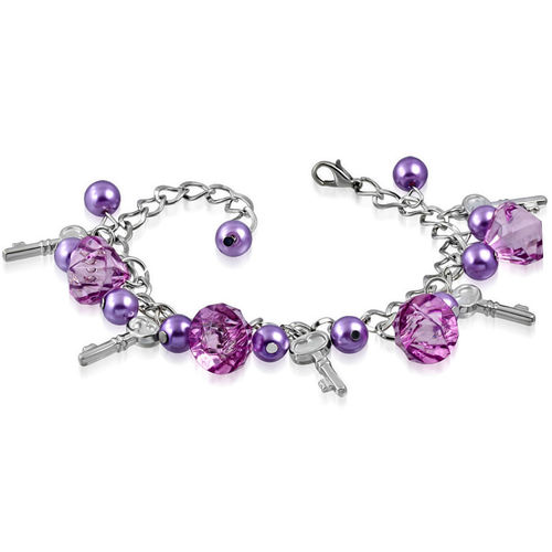 Purple Bead and Key Charm Bracelet