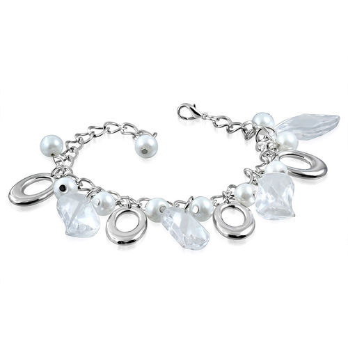 White Clear Leaf Bead and Oval Charm Bracelet