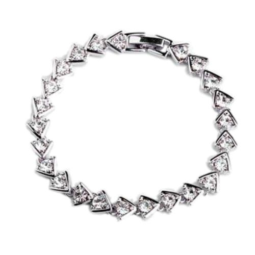 White Gold finish clear CZ Bracelet