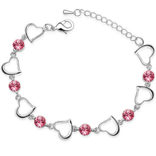 White Gold finish pink heart Bracelet