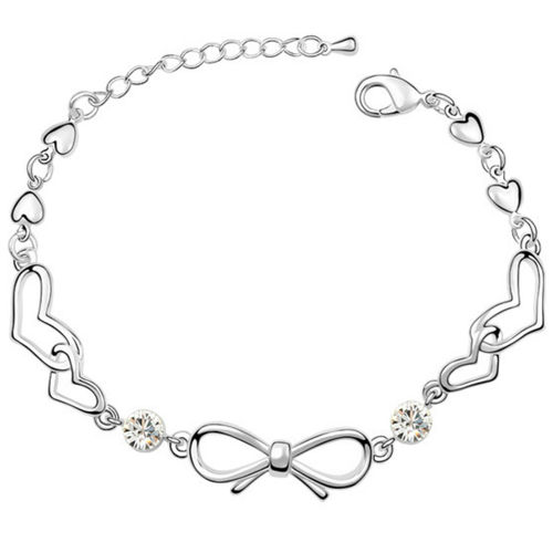 White Gold finish clear heart Bracelet