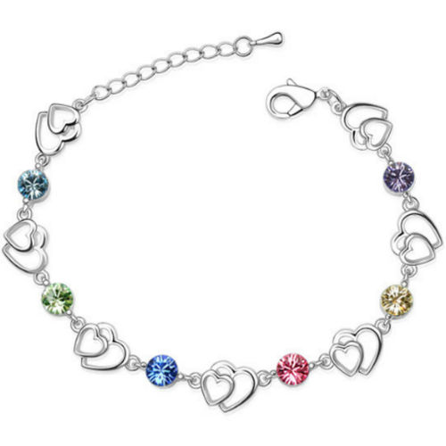 White Gold finish multi-colour heart Bracelet