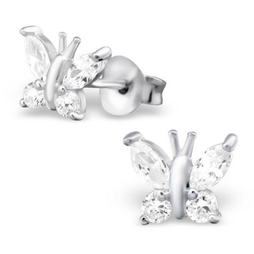 925 Sterling Silver clear Butterfly Studs