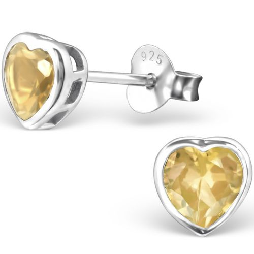 925 Sterling Silver Citrine heart studs