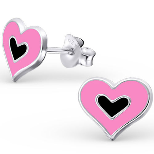 925 Sterling Silver kids pink heart studs