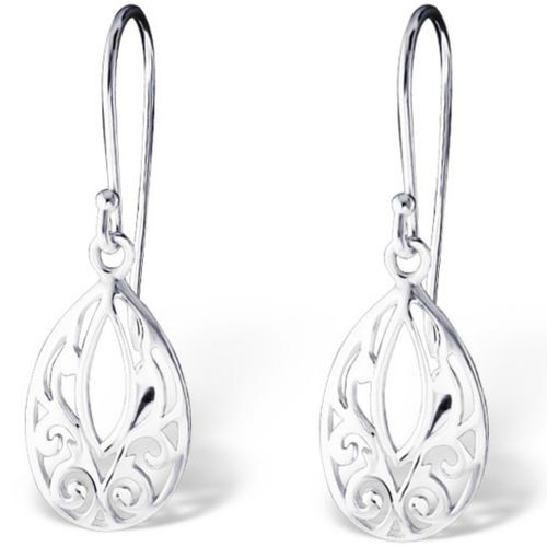 Sterling Silver oval shaped hook earrings