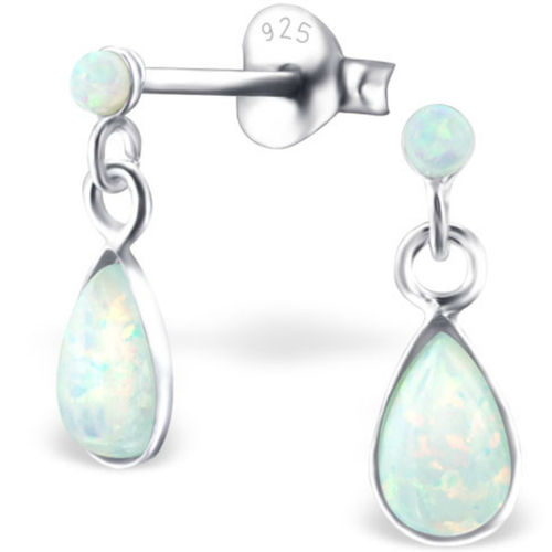 925 Sterling Silver Opal drop earrings