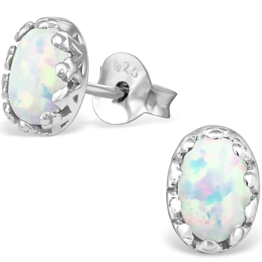 746435e46a487 925 Sterling Silver Opal stud earrings