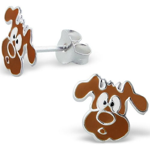 925 Sterling Silver kids dog face studs