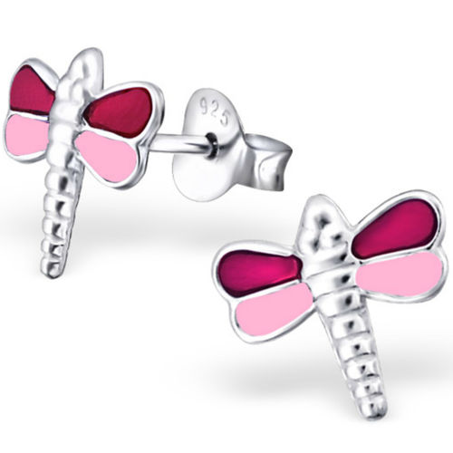 925 Sterling Silver pink kids dragonfly studs