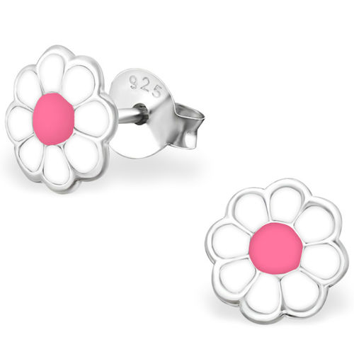 925 Sterling Silver kids daisy stud earrings