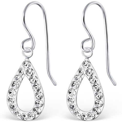 Sterling Silver sparkly oval hook earrings