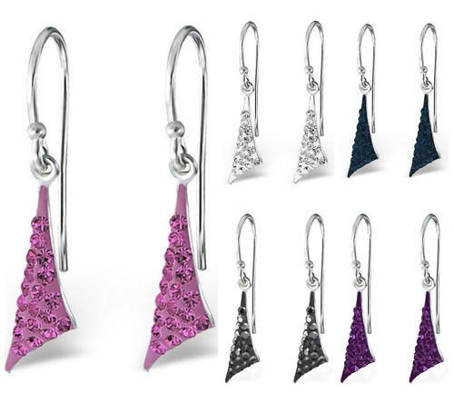 Sterling Silver sparkly triangle hook earrings