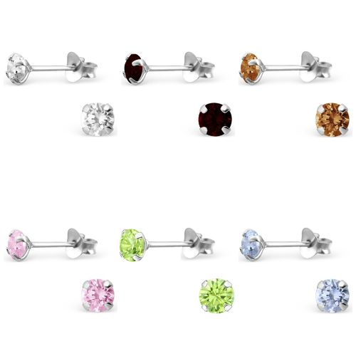 Sterling Silver 4mm round CZ studs