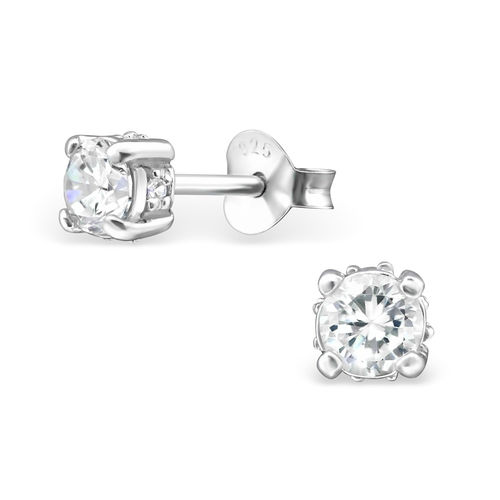 Sterling Silver 4mm clear CZ studs - April Birthstone