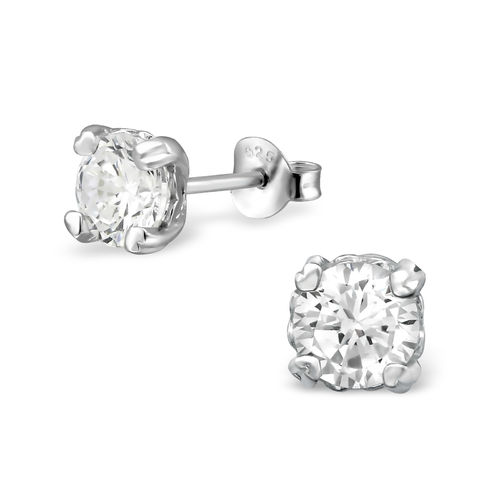 Sterling Silver 6mm clear CZ studs - April Birthstone