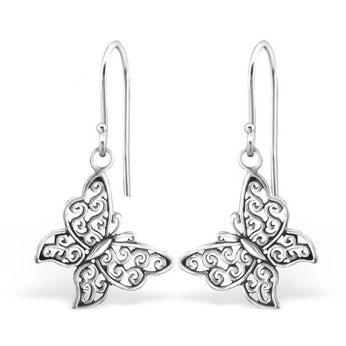 St. Silver Butterfly shaped hook earrings