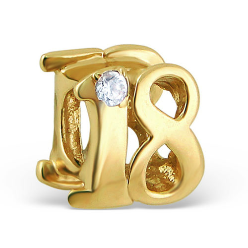"Sterling Silver Gold Plated ""18"" Charm Bead"
