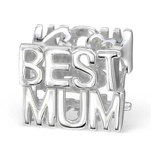 "Sterling Silver ""Best Mum"" Charm Bead"