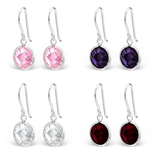 925 Sterling Silver CZ Hook Earrings