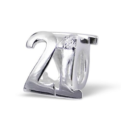 "Sterling Silver Number ""21"" Charm Bead"