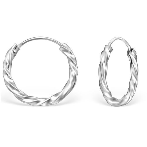 Sterling Silver 16mm Twisted Sleeper Hoop earrings