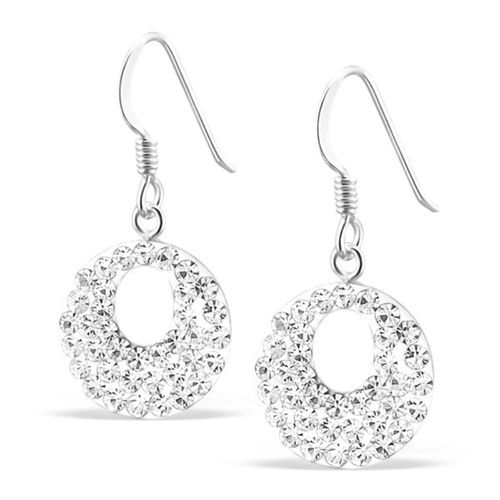 Sterling Silver sparkly round hook earrings
