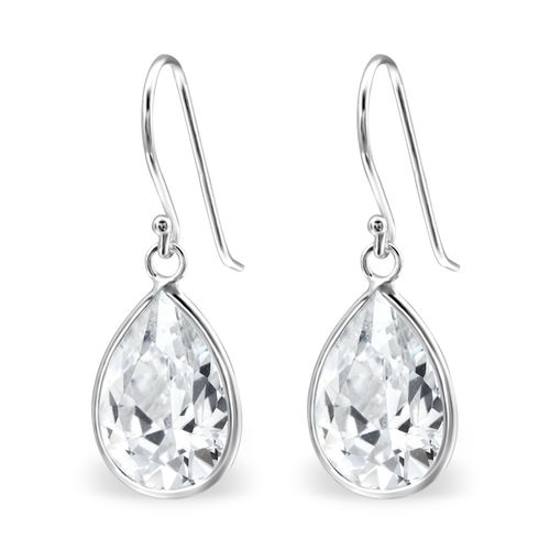 925 Sterling Silver CZ Drop hook earrings