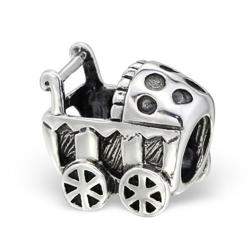 "Sterling Silver ""Baby Push Chair"" Charm Bead"