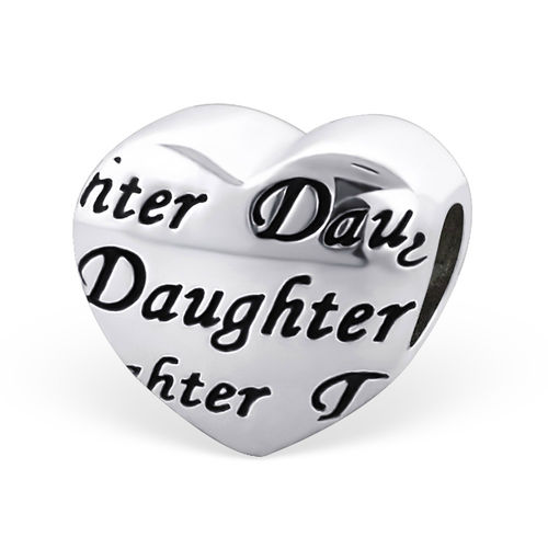 "Sterling Silver ""Daughter"" Heart Charm Bead"