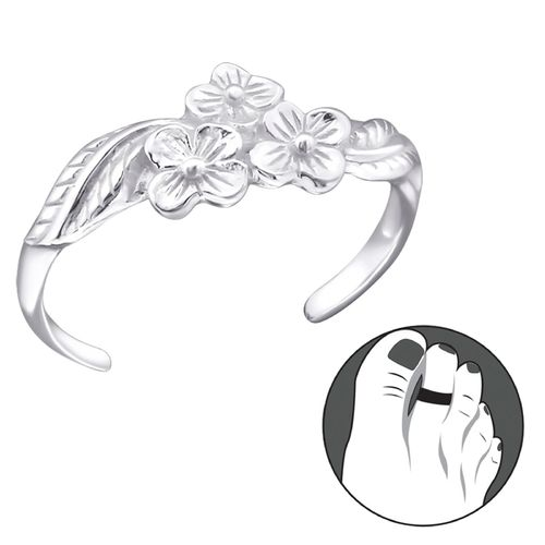 "Sterling Silver ""Flowers"" Design Toe Ring"