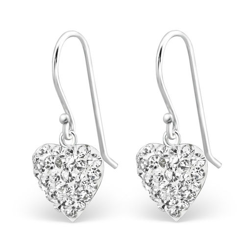 Sterling Silver sparkly heart hook earrings