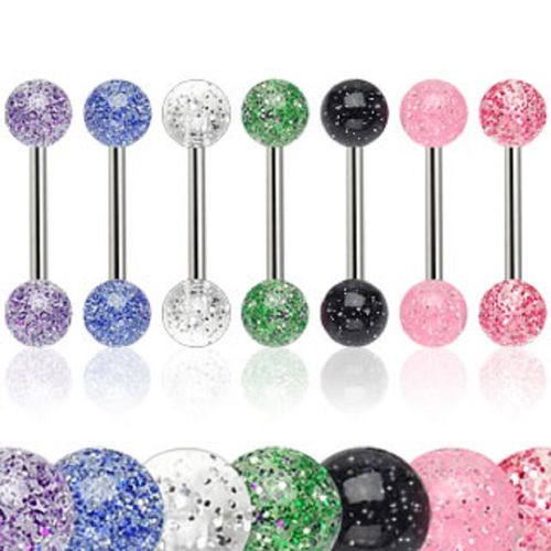 Pack of 7 Barbells with Acrylic Glitter Balls