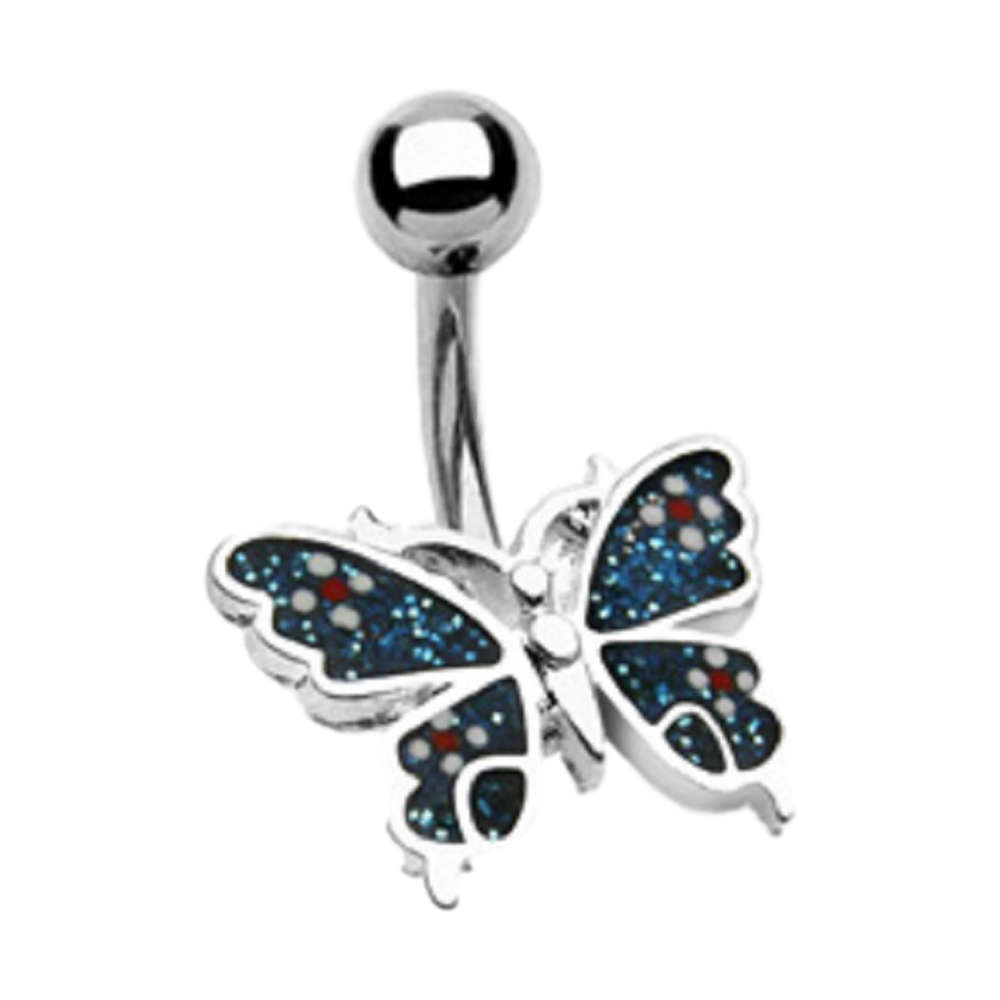 Coloured Butterfly Navel Ring
