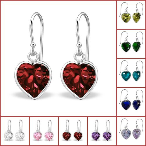 925 Sterling Silver CZ Heart Hook E/R