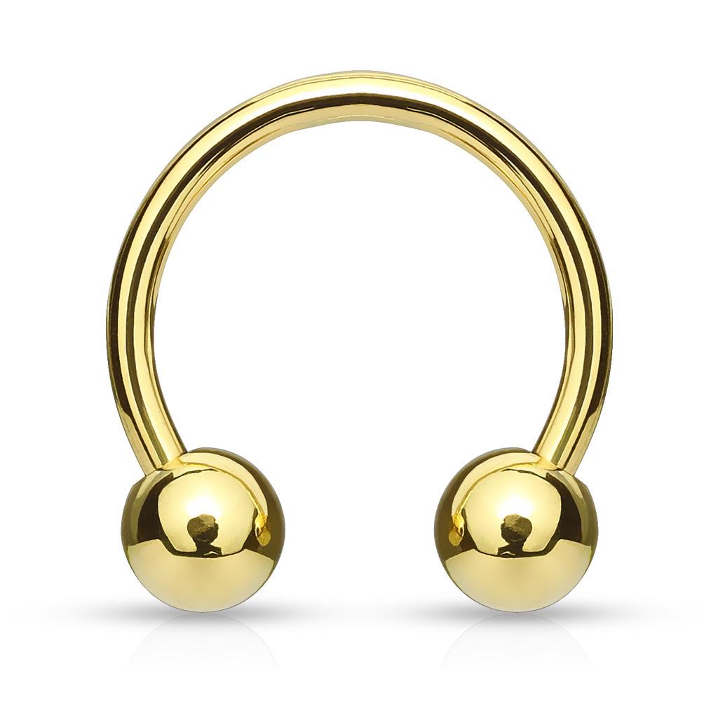 Gold Ip Horseshoe Circular Barbell Anjasmagicbox Co Uk