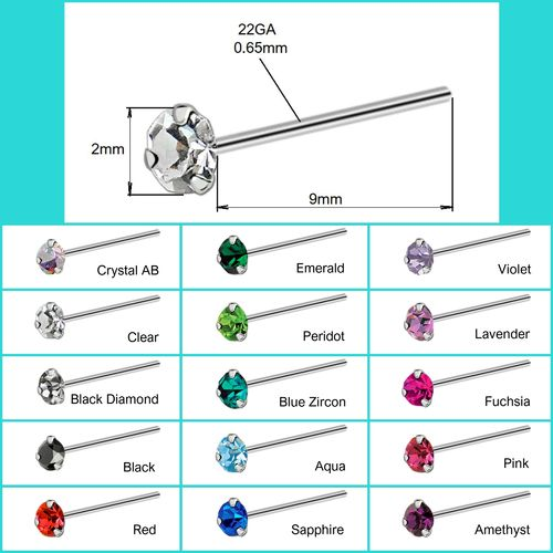 925 S/S Nose Stud with 2mm round Crystal