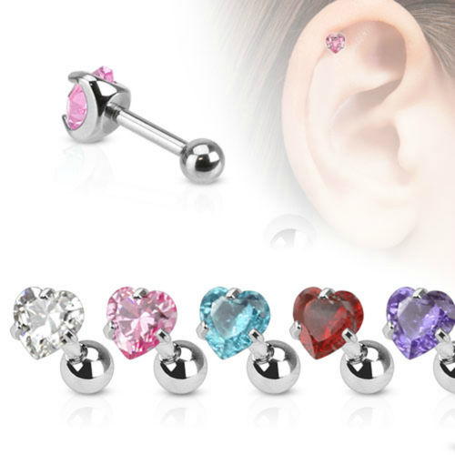 CZ Heart Cartilage Piercing