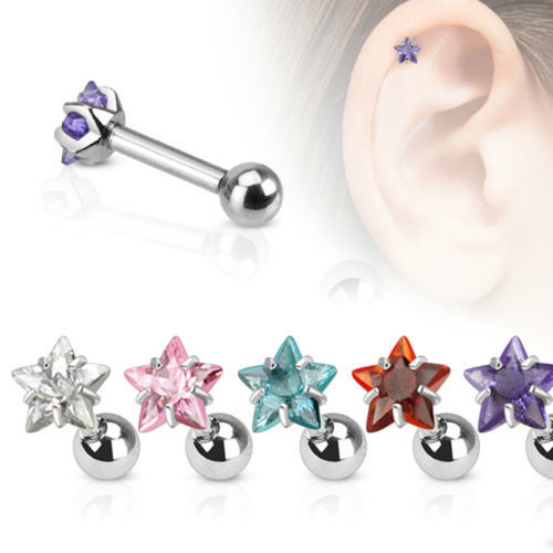 4mm CZ Star Cartilage/Tragus Piercing