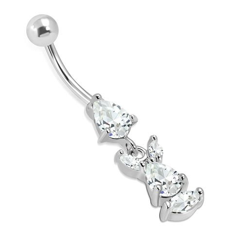 Clear CZ Bunny Belly Piercing