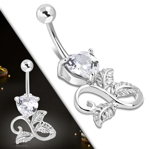 Clear CZ and Leaves Belly Piercing