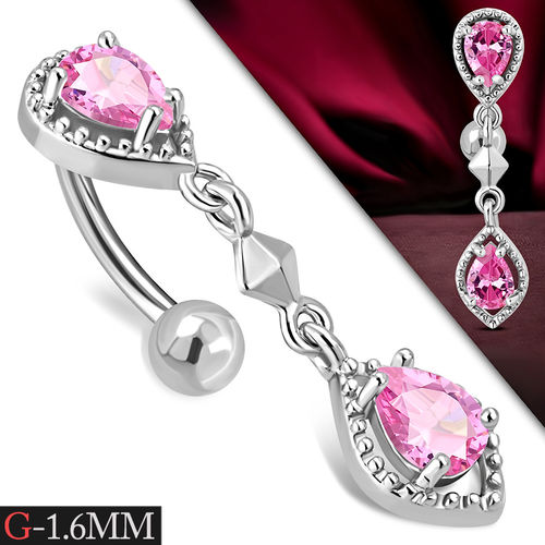 Pink CZ Drop Reverse Belly Piercing