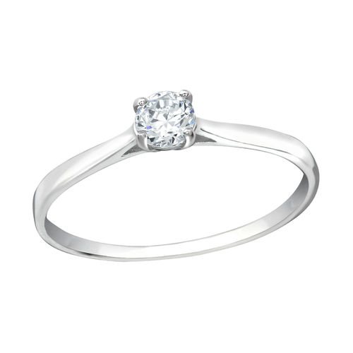 S/S and 4mm Clear Cubic Zirconia Ring
