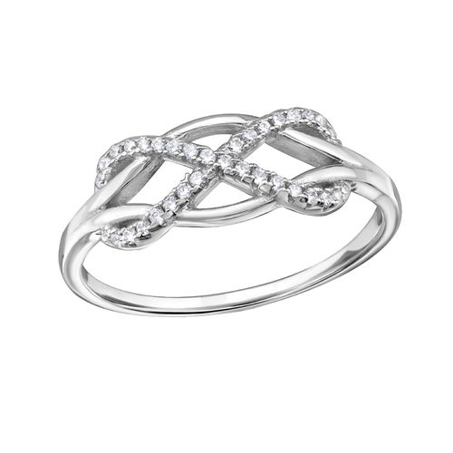 S/S and Clear CZ Infinity Ring
