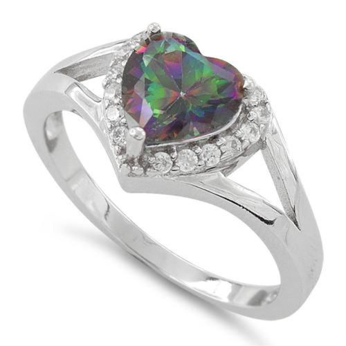 S/S Heart Shape Rainbow Topaz CZ Ring