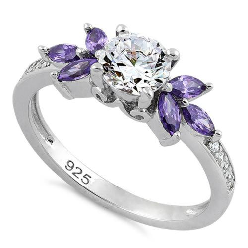 S/S Flower Leaves Amethyst Clear CZ Ring