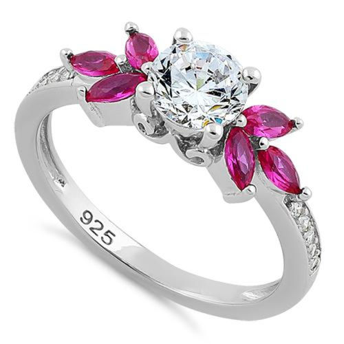S/S Flower Leaves Ruby Clear CZ Ring