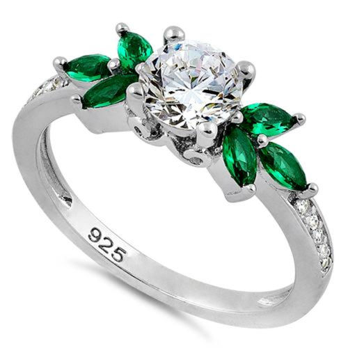 S/S Flower Leaves Emerald Clear CZ Ring