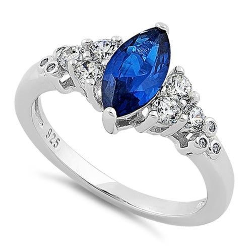 S/S Clear & Blue Spinel CZ Ring