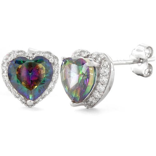 S/S Heart Shape Rainbow Topaz CZ Earrings